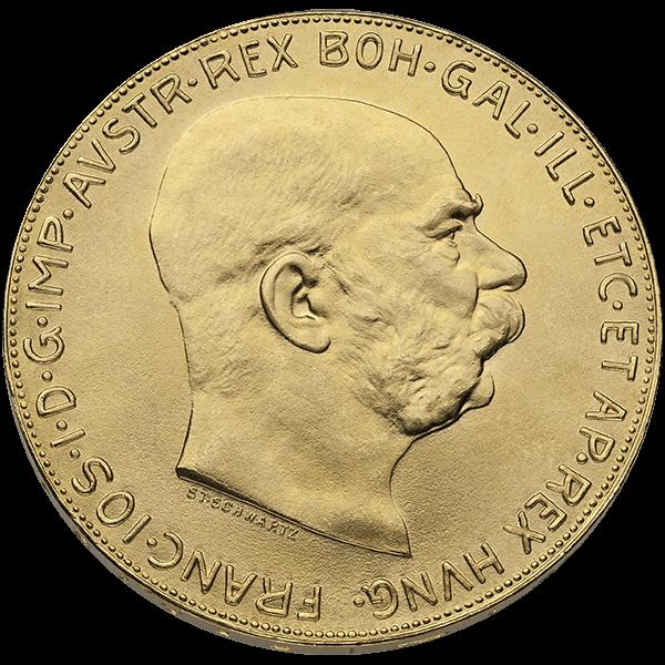 WORLD GOLD 100 CORONA AUSTRIAN GOLD COIN Obverse