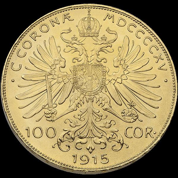 WORLD GOLD 100 CORONA AUSTRIAN GOLD COIN Reverse