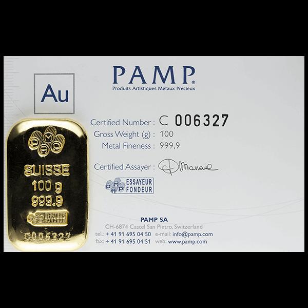 GOLD BARS ASSORTED WEIGHTS 100 GRAM GOLD PAMP BAR Obverse
