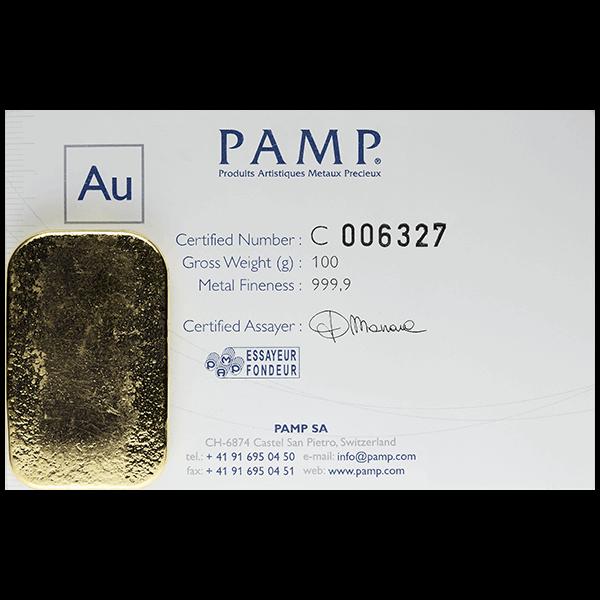 GOLD BARS ASSORTED WEIGHTS 100 GRAM GOLD PAMP BAR Reverse