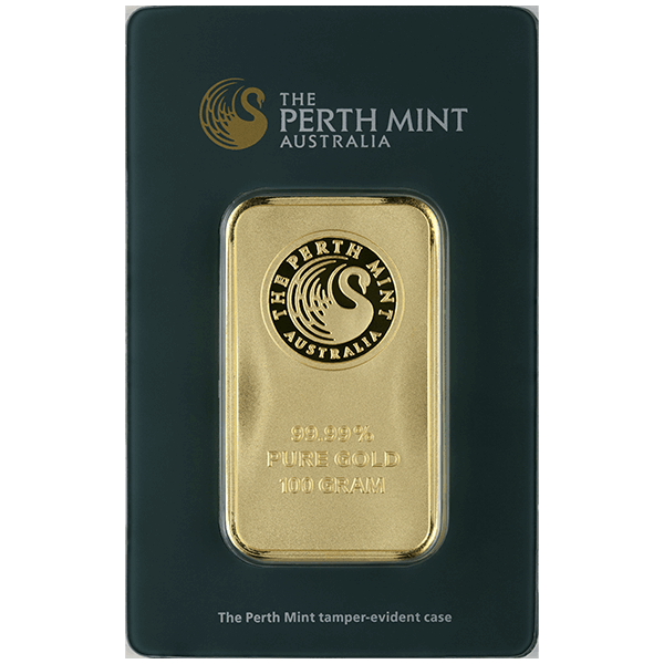 GOLD BARS ASSORTED WEIGHTS 100 GRAM GOLD BAR PERTH Obverse