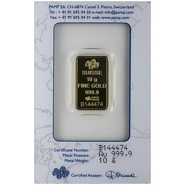 GOLD BARS ASSORTED WEIGHTS 10 GRAM GOLD BAR PAMP Reverse