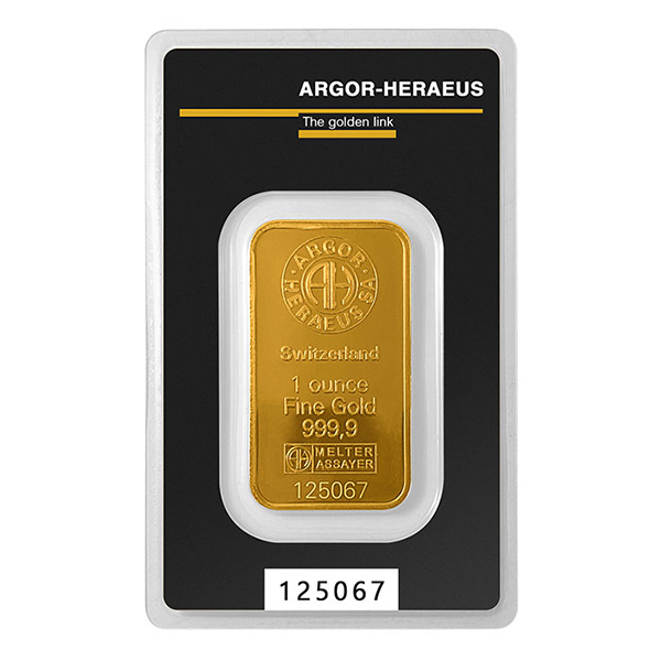 GOLD BARS 1 OZ 1 OZ GOLD BAR ARGOR-HERAEUS KINEBAR Obverse