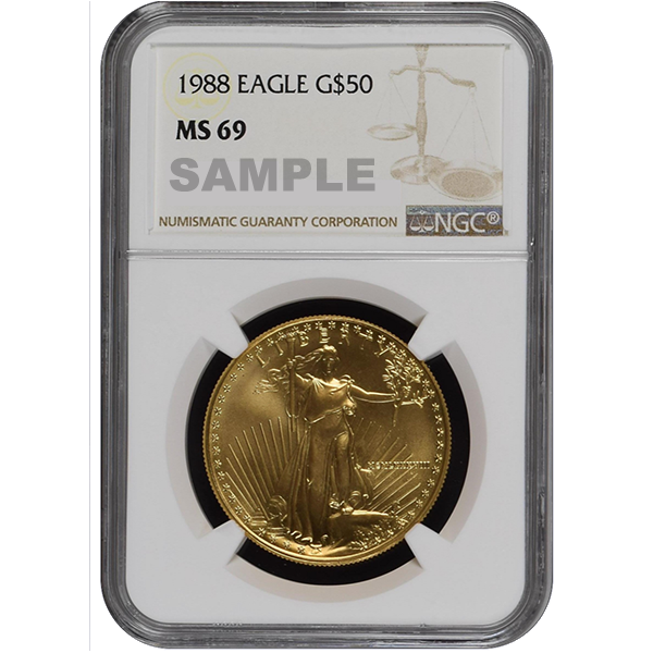 AMERICAN GOLD EAGLE NGC AND PCGS 1988 1 OZ AMERICAN GOLD EAGLE NGC69 Obverse