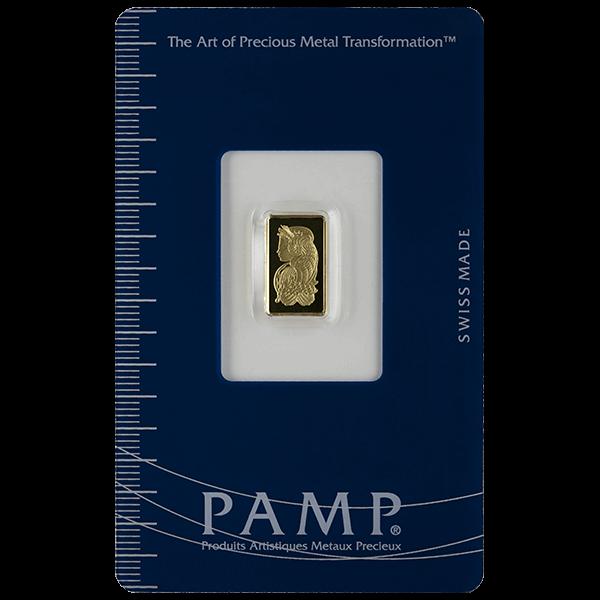 GOLD BARS ASSORTED WEIGHTS 1 GRAM GOLD BAR PAMP Obverse
