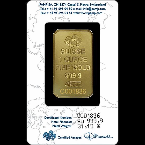 GOLD BARS 1 OZ 1 OZ GOLD BAR PAMP .9999 FINE Reverse