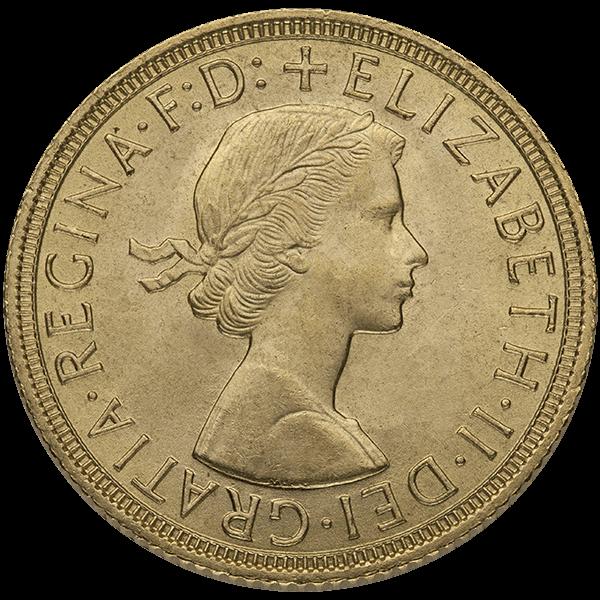 WORLD GOLD ENGLISH GOLD SOVEREIGN NEW QUEEN ELIZABETH Obverse