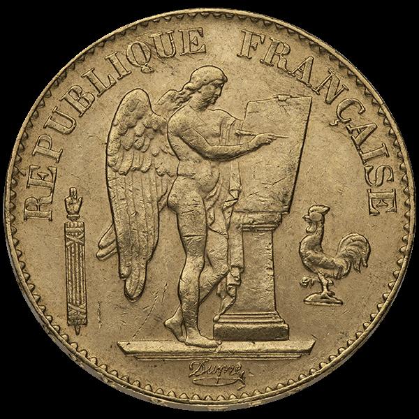 WORLD GOLD 20 FRANC FRENCH GOLD ANGEL Obverse