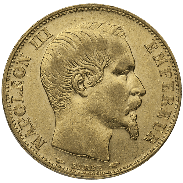 WORLD GOLD 20 FRANC FRENCH GOLD COIN NAPOLEON III Obverse