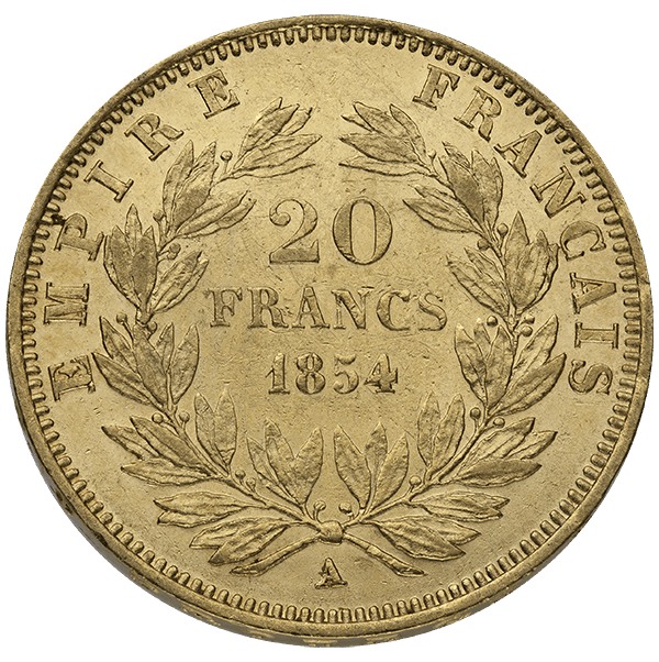WORLD GOLD 20 FRANC FRENCH GOLD COIN NAPOLEON III Reverse