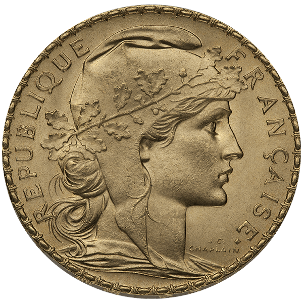 WORLD GOLD 20 FRANC FRENCH GOLD ROOSTER Obverse