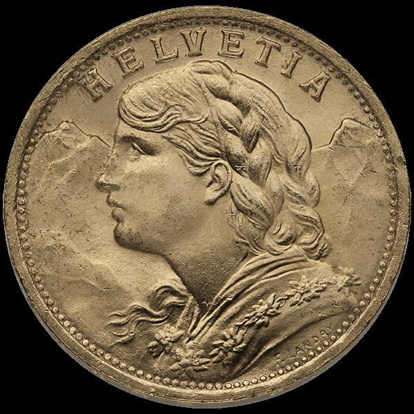 WORLD GOLD 20 FRANC SWISS GOLD COIN Obverse