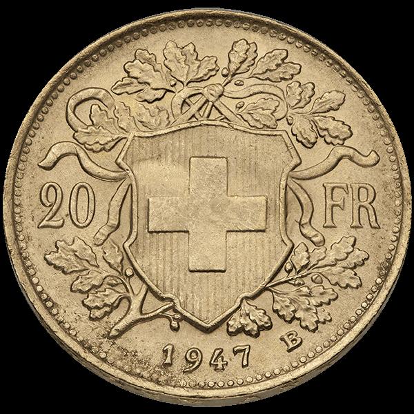WORLD GOLD 20 FRANC SWISS GOLD COIN Reverse