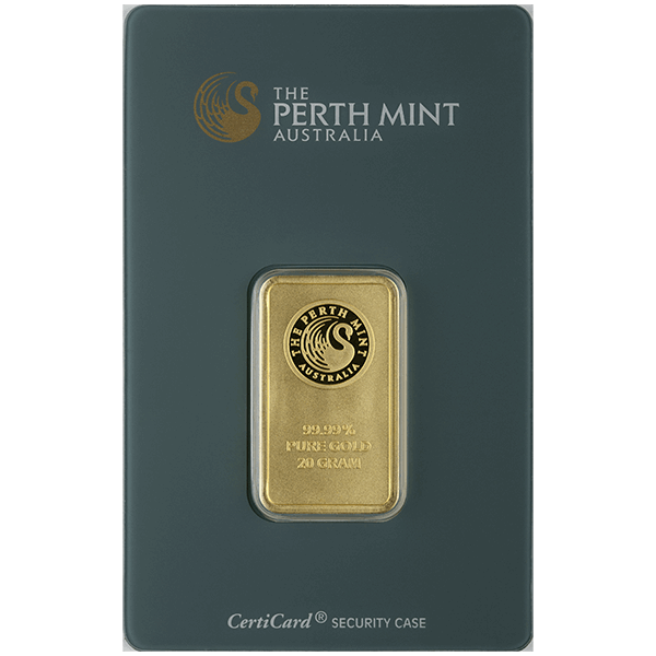GOLD BARS ASSORTED WEIGHTS 20 GRAM PERTH GOLD BAR Obverse