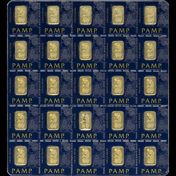 GOLD BARS ASSORTED WEIGHTS 25 GRAM GOLD MULTIGRAM PAMP Obverse