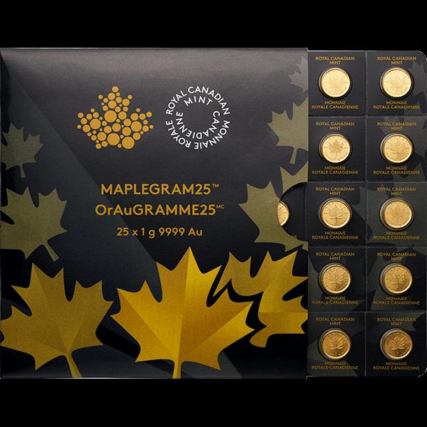CANADIAN GOLD 25 GRAM GOLD MAPLEGRAM Obverse