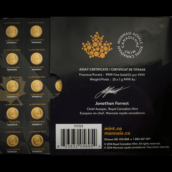 CANADIAN GOLD 25 GRAM GOLD MAPLEGRAM Reverse