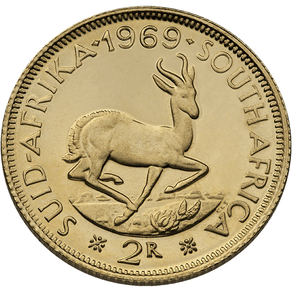 WORLD GOLD 2 RAND SOUTH AFRICAN GOLD COIN Obverse
