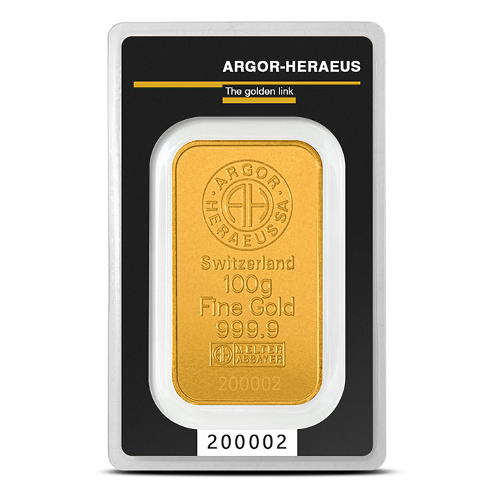 GOLD BARS ASSORTED WEIGHTS 100 GRAM GOLD BAR ARGOR-HERAEUS Obverse