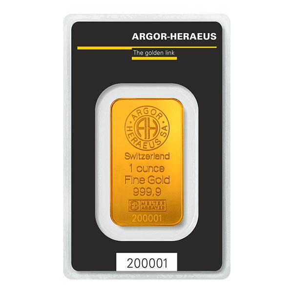 GOLD BARS 1 OZ 1 OZ GOLD BAR ARGOR-HERAEUS Obverse