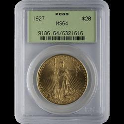 $20 U.S. St. Gaudens Gold PCGS MS64