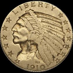 U.s. Gold VF $5 Indian