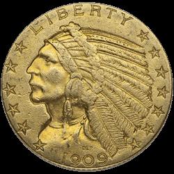 U.s. Gold XF $5 Indian