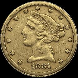 U.s. Gold VF $5 Liberty
