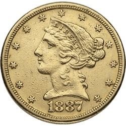 U.s. Gold XF $5 Liberty