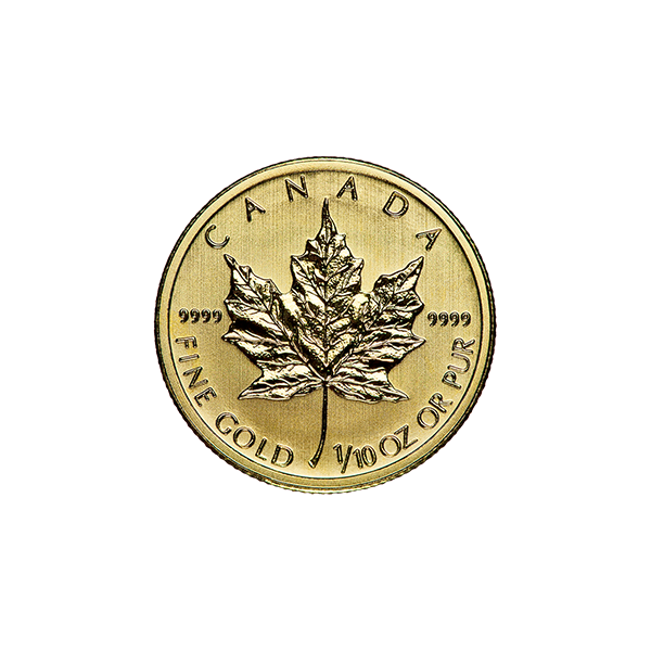 CANADIAN GOLD 1/10 OZ CANADIAN GOLD MAPLE LEAF (IN PLASTIC) Reverse