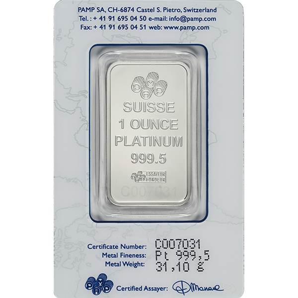 PLATINUM BARS 1 OZ 1 OZ PLATINUM BAR PAMP Reverse