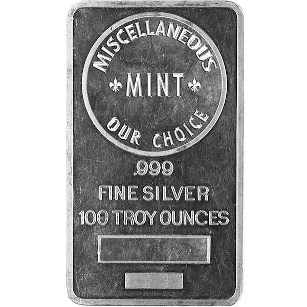 SILVER BARS 100 OZ 100 OZ SILVER BAR Obverse