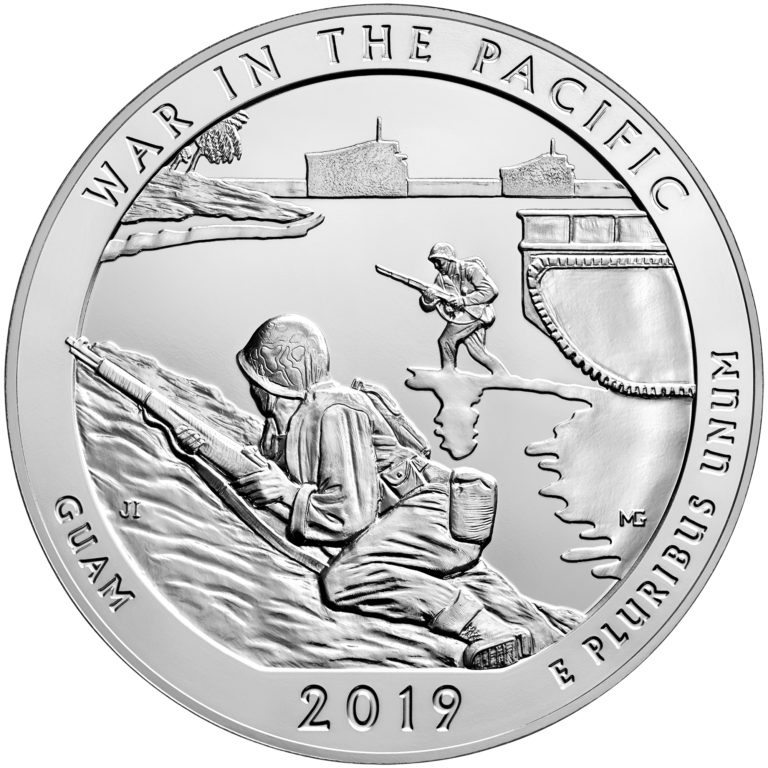 AMERICA THE BEAUTIFUL 2019 5 OZ SILVER ATB WAR IN THE PACIFIC NATIONAL HISTORICAL PARK Obverse