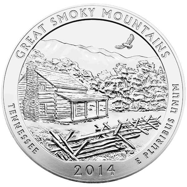 AMERICA THE BEAUTIFUL 2014 5 OZ SILVER ATB GREAT SMOKY MOUNTAINS Obverse