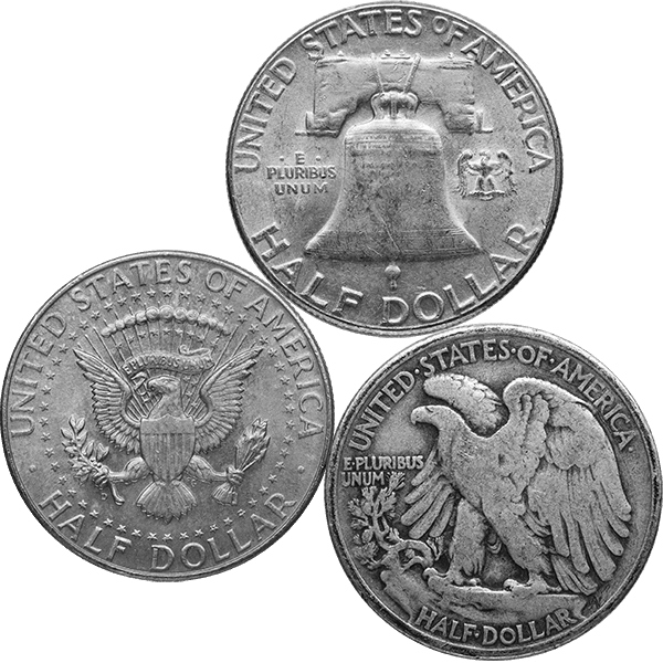 SILVER U.S. COINAGE 90 % 90% AMERICAN SILVER COINS - MIXED HALVES Reverse