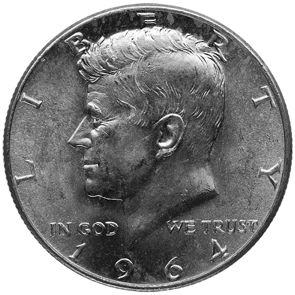 SILVER U.S. COINAGE 90 % 90% AMERICAN SILVER COINS - KENNEDY HALF DOLLARS Obverse