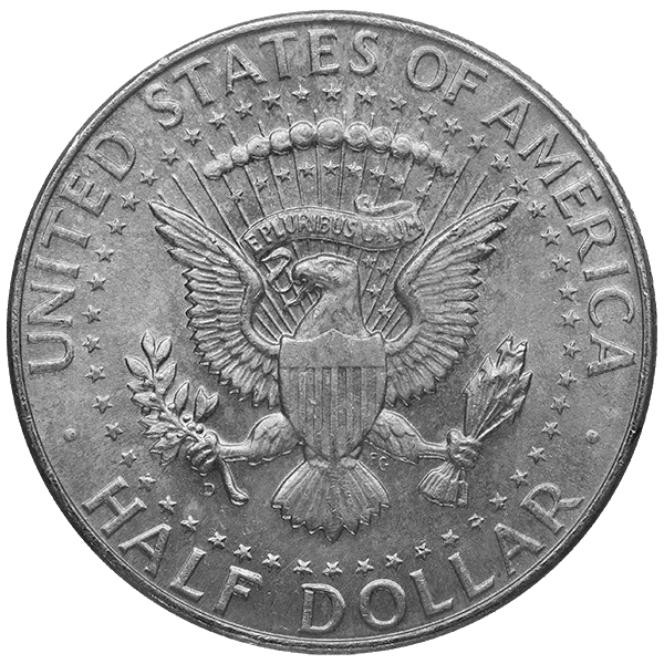 SILVER U.S. COINAGE 90 % 90% AMERICAN SILVER COINS - KENNEDY HALF DOLLARS Reverse