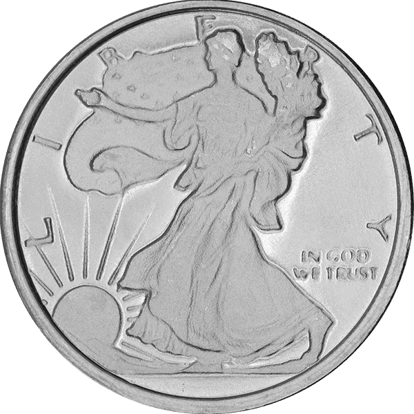 SILVER ROUNDS FRACTIONAL 1/4 OZ SILVER ROUND WALKING LIBERTY Obverse