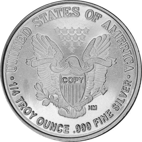 SILVER ROUNDS FRACTIONAL 1/4 OZ SILVER ROUND WALKING LIBERTY Reverse