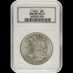 $1 U.S. Morgan Silver Dollars NGC MS65 1921