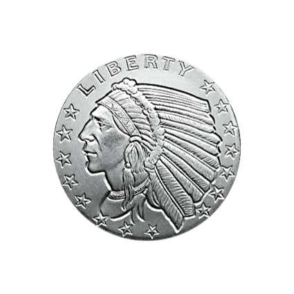 SILVER ROUNDS FRACTIONAL 1/10 OZ SILVER ROUND INCUSE INDIAN DESIGN GOLDEN STATE MINT Obverse