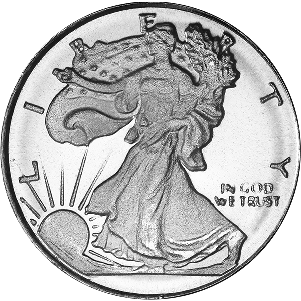 SILVER ROUNDS FRACTIONAL 1/10 OZ SILVER ROUND WALKING LIBERTY Obverse