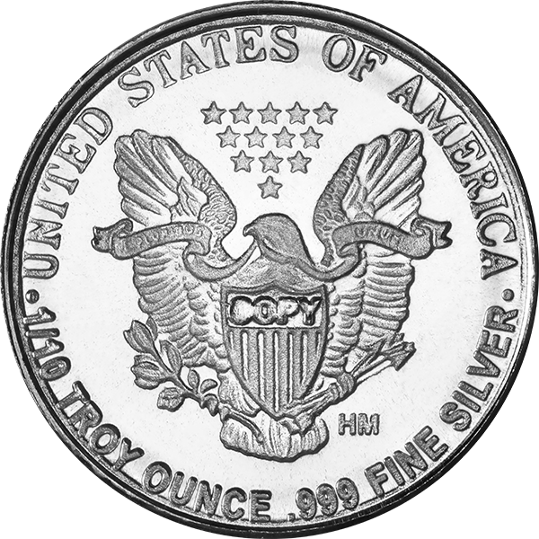 SILVER ROUNDS FRACTIONAL 1/10 OZ SILVER ROUND WALKING LIBERTY Reverse