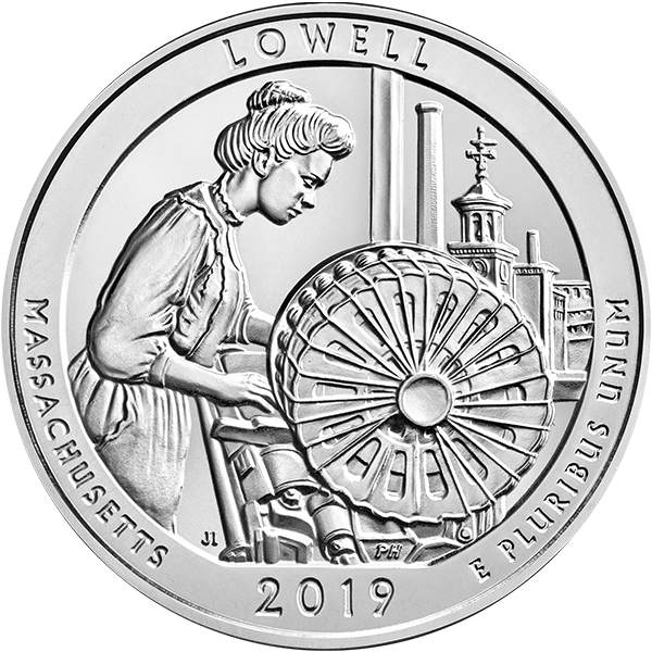 AMERICA THE BEAUTIFUL 2019 5 OZ SILVER ATB LOWELL NATIONAL HISTORICAL PARK Obverse